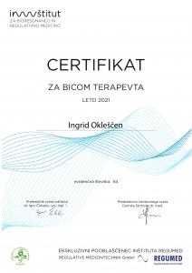 Certifikat za BICOM terapevta za leto 2021