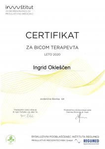 Certifikat za BICOM terapevta za leto 2020